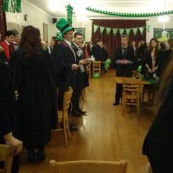 the singing of the Irish national anthem